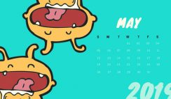 Free Monthly Calendar Template May 2019 colorful cartoon alien
