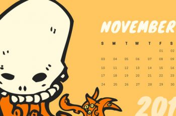 Free Monthly Calendar Template November 2019 colorful cartoon alien