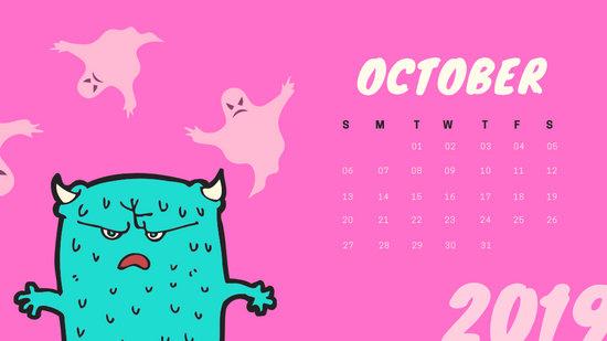 Free Monthly Calendar Template October 2019 colorful cartoon alien
