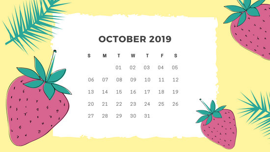 Free Monthly Calendar Template October 2019 green tropical