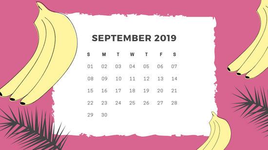 Free Monthly Calendar Template September 2019 green tropical