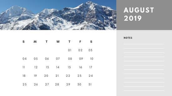 Free Photo Calendar Template August 2019 white and grey modern minimalist