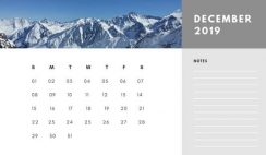 Free Photo Calendar Template December 2019 white and grey modern minimalist