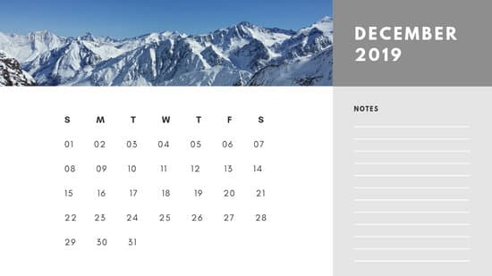 Free Photo Calendar Template December 2019 white and grey modern minimalist