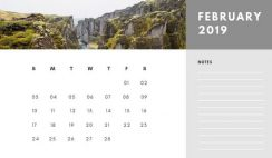Free Photo Calendar Template February 2019 white and grey modern minimalist