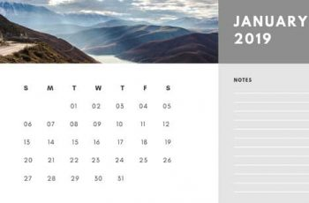 Free Photo Calendar Template January 2019 white and grey modern minimalist