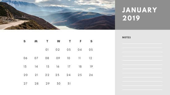 Free Photo Calendar Template January 2019 white and grey modern minimalist