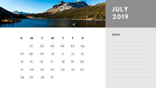 Free Photo Calendar Template July 2019 white and grey modern minimalist