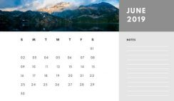 Free Photo Calendar Template June 2019 white and grey modern minimalist
