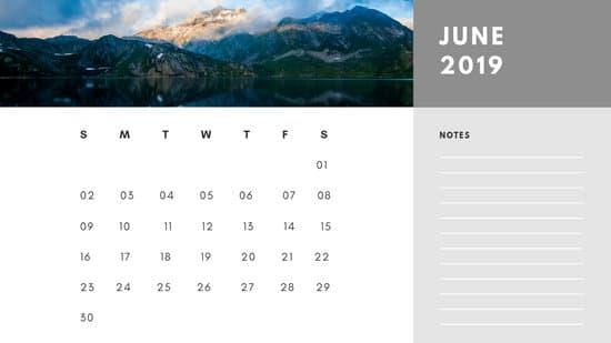 Free Photo Calendar Template June 2019 white and grey modern minimalist