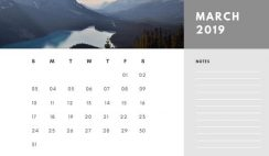 Free Photo Calendar Template March 2019 white and grey modern minimalist