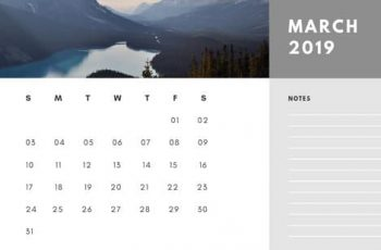 Free Photo Calendar Template March 2019 white and grey modern minimalist