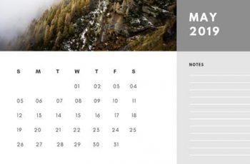 Free Photo Calendar Template May 2019 white and grey modern minimalist