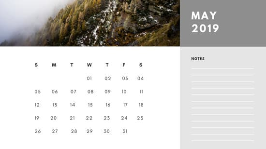 Free Photo Calendar Template May 2019 white and grey modern minimalist