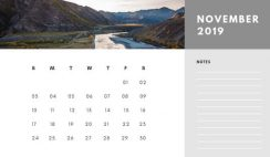 Free Photo Calendar Template November 2019 white and grey modern minimalist