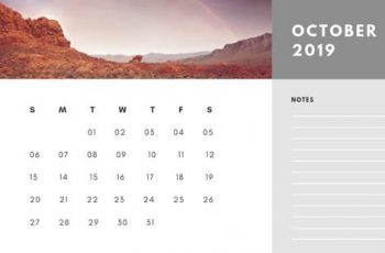 Free Photo Calendar Template October 2019 white and grey modern minimalist