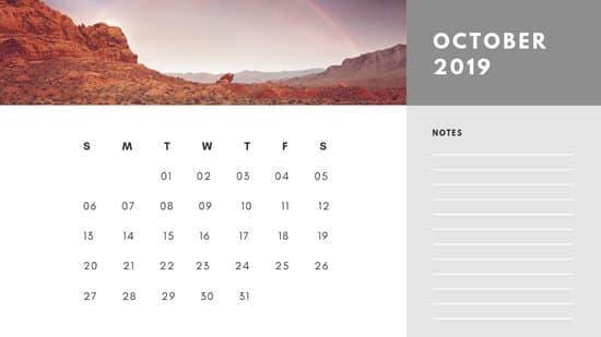 Free Photo Calendar Template October 2019 white and grey modern minimalist