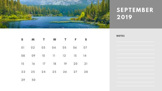 Free Photo Calendar Template September 2019 white and grey modern minimalist