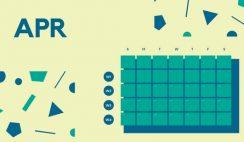 Free Weekly Blank Calendar Template April dark cerulean shapes
