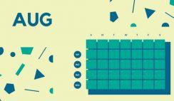Free Weekly Blank Calendar Template August dark cerulean shapes