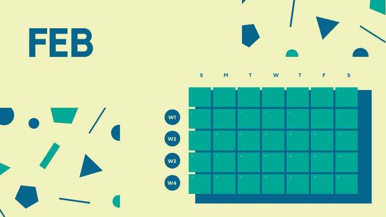 Free Weekly Blank Calendar Template February dark cerulean shapes