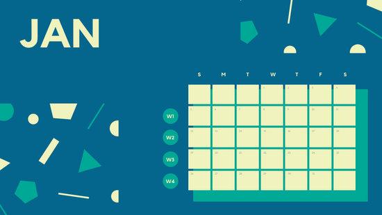 Free Weekly Blank Calendar Template January dark cerulean shapes