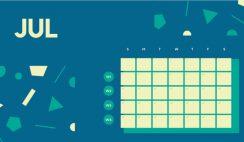 Free Weekly Blank Calendar Template July dark cerulean shapes