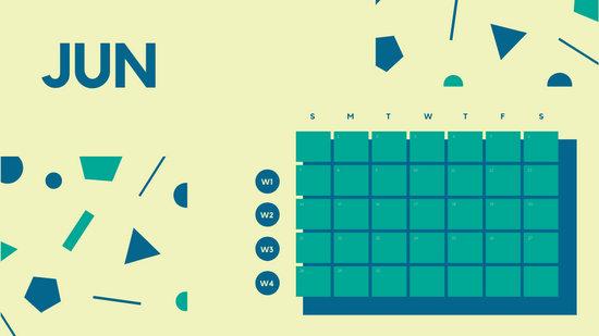 Free Weekly Blank Calendar Template June dark cerulean shapes
