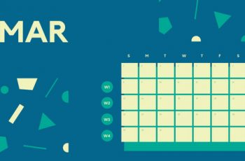 Free Weekly Blank Calendar Template March dark cerulean shapes