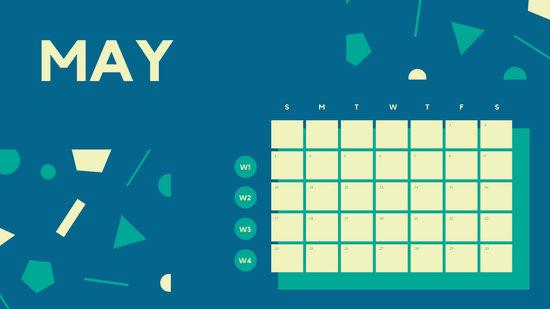 Free Weekly Blank Calendar Template May dark cerulean shapes