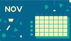 Free Weekly Blank Calendar Template November dark cerulean shapes
