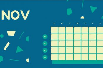 Free Weekly Blank Calendar Template November dark cerulean shapes