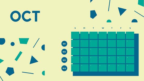 Free Weekly Blank Calendar Template October dark cerulean shapes