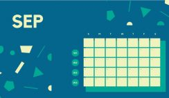 Free Weekly Blank Calendar Template September dark cerulean shapes
