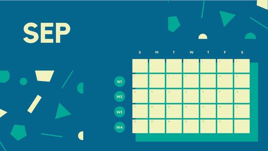 Free Weekly Blank Calendar Template September dark cerulean shapes