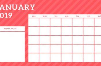 January 2019 Blank Calendar Template rainbow stripes Weekly