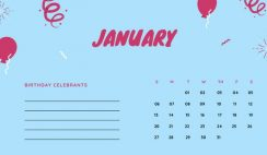 January 2019 Calendar Template colorful balloons confetti cute birthday Calendar