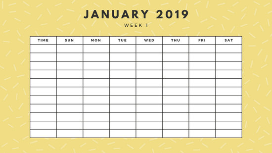 January 2019 Weekly Calendar Template yellow sprinkles and dots