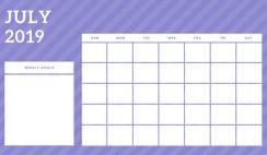 July 2019 Blank Calendar Template rainbow stripes Weekly