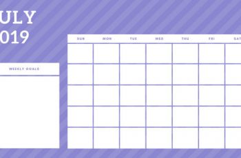 July 2019 Blank Calendar Template rainbow stripes Weekly