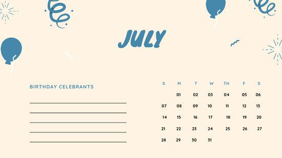 July 2019 Calendar Template colorful balloons confetti cute birthday Calendar