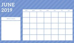 June 2019 Blank Calendar Template rainbow stripes Weekly