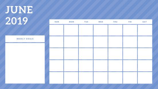 June 2019 Blank Calendar Template rainbow stripes Weekly