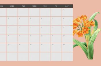 June 2019 Calendar Template multicoloured pastel flowers simple