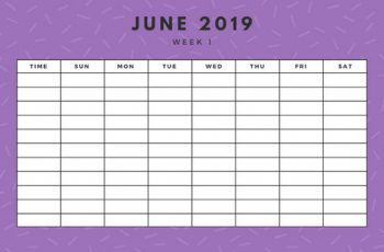 June 2019 Weekly Calendar Template yellow sprinkles and dots