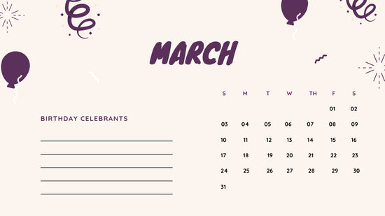 March 2019 Calendar Template colorful balloons confetti cute birthday Calendar