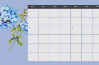 March 2019 Calendar Template multicoloured pastel flowers simple