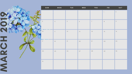 March 2019 Calendar Template multicoloured pastel flowers simple
