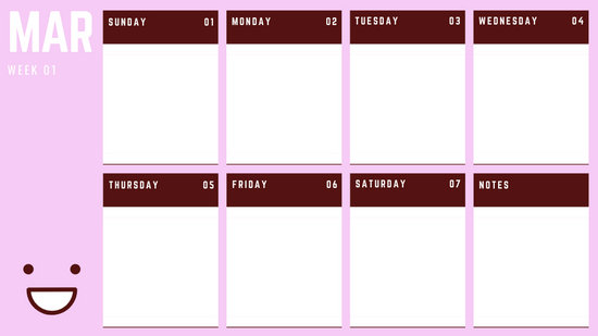 March Weekly Calendar Template colorful illustrated smiley face