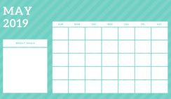 May 2019 Blank Calendar Template rainbow stripes Weekly